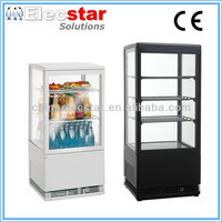 4 sides glass door display counter top cooler/ beverage refrigerator /chiller showcase,40L/55L/70L/85L/98L