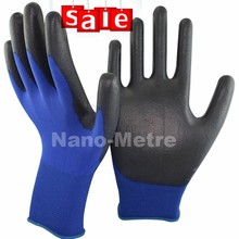 NMSAFETY nylon parade navy blue nylon coated black PU gloves