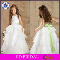 EDW502 Beautiful Ball Gown Organza Lime Green Sash Children Wedding Dress