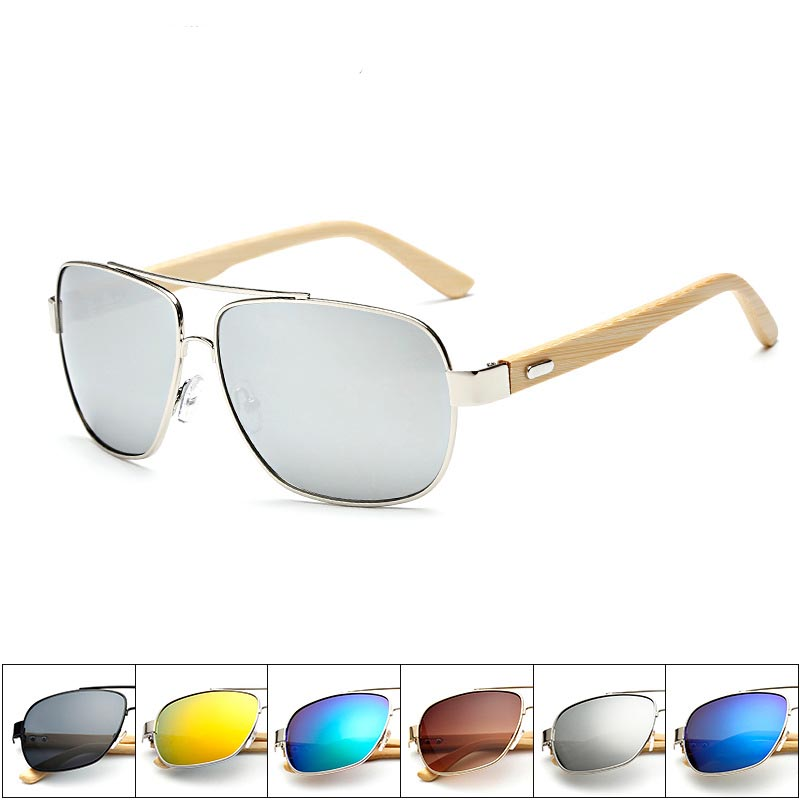 Hot sell outdoor tavelling UV400 handmade bamboo and wooden leg metal square large frame vintage sunglasses