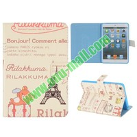 Cute Design Eiffel Tower Pattern Flip Leather Case for iPad Mini Retina