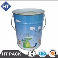 18 liter printed pail with lid for kid toy/base ball,4.5 gallon metal bucket with metal handle
