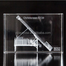 3D Robot Engraved Crystal Cube, Engraving Crystal Glass Block for Souvenir Gifs