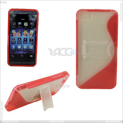 S Type Transparent Plastic TPU Stand Cover Case for Blackberry Z10 P-BBZ10HCSO003