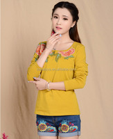 european top blouses fashion beautiful classical beauty blouse new style dresses embroidered kaftan woman's yellow tops