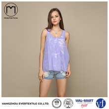 new design romantic purple loose sleeveless custom ladies tops casual shirt camisetas