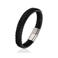 Cool fashion Black Braid Woven Leather Bracelet with Stainless Steel Clasp Bracelet Men Bangle Men Jewelry Vintage Gift