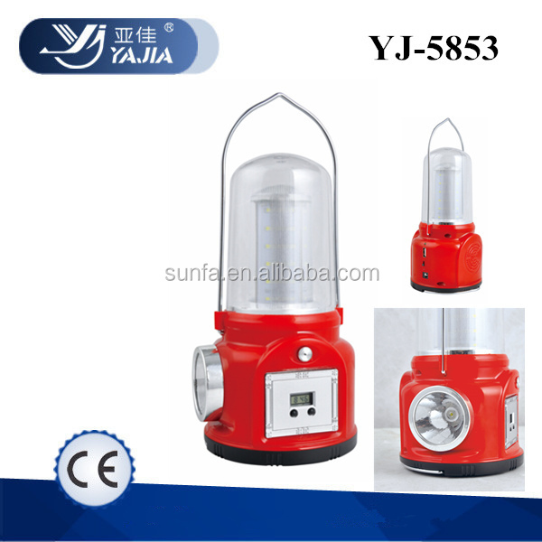 YJ-5853 led rechargeable portable radio solar lantern for camping