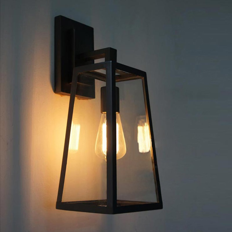 Transparent glass and brass handmade glass led wall light outdoor
