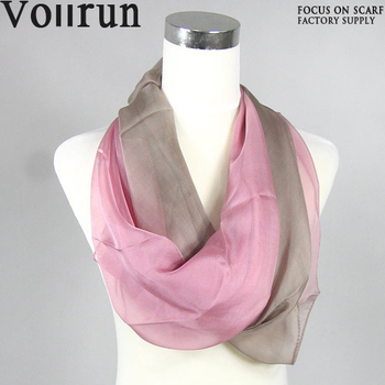 Beautiful Endless Silk Chiffon Ombre Pink Scarf