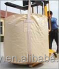 one ton PP woven laminated bag,pp bulk container bags with 4 loops,white,two spout,circular type