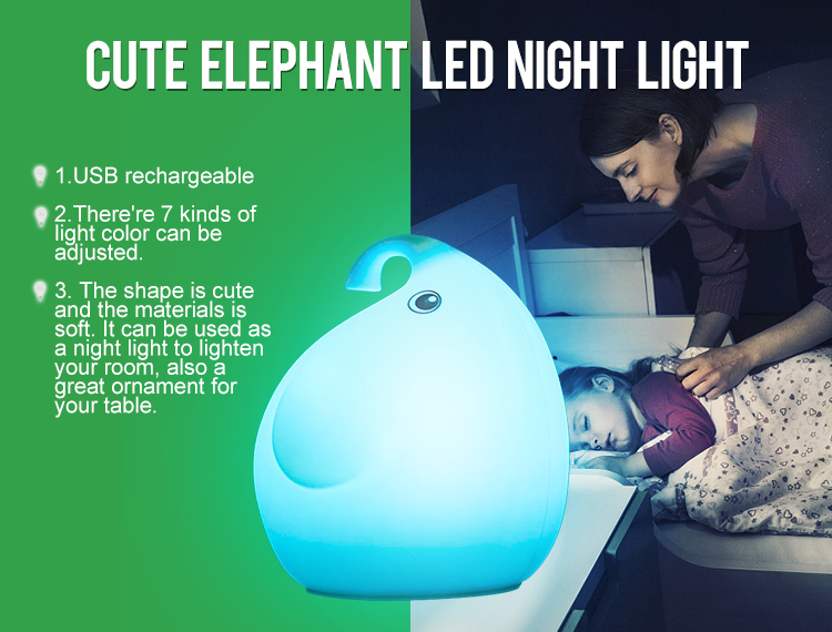 Unique design 0.4W cute elephant baby led night light