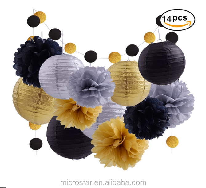Birthday Decoration Wedding Christmas Themed Party Supplies Black Gold Tissue Pom Poms Paper Lantern garland