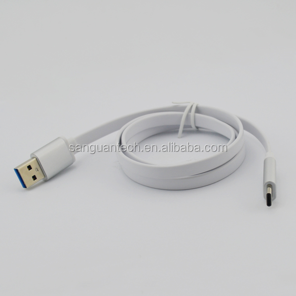 Ultra slim usb type c flat 3.1 cable to usb 3.0 a male with aluminium head