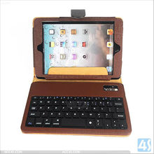 Retro Style Back Support Bluetooth Keyboard Leather Case with Buckle for iPad Mini P-iPDMINICASE119