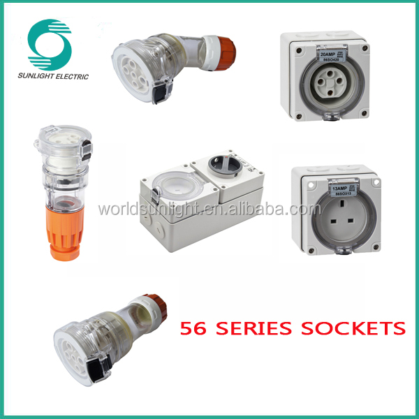 IP66 waterproof explosion proof 250v 500v 10A 13A 15A 20A 32A 40A 50A female ac power electric extension switch socket outlet