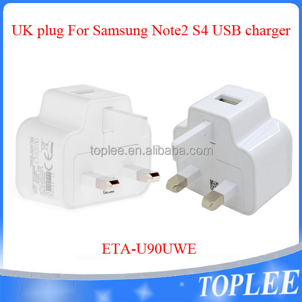Factory Original OEM 5V 2A TA-U90UWE For Samsung Galaxy S4 Note 2 Home Charger UK 3 Pins Usb Wall Charger
