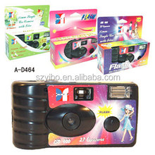 New Shell-Customized Disposable FLASH CAMERA of Black/Transparent PVC Cover with pre-loaded Fuji film & battery