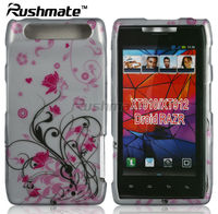 Silver Base Crystal 2D Mobile Phone Design Case Covers Hard Skins For Motorola RAZR XT910