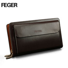 FEGER Wholesale Leather Man's Purse Traveling Pouching Bag