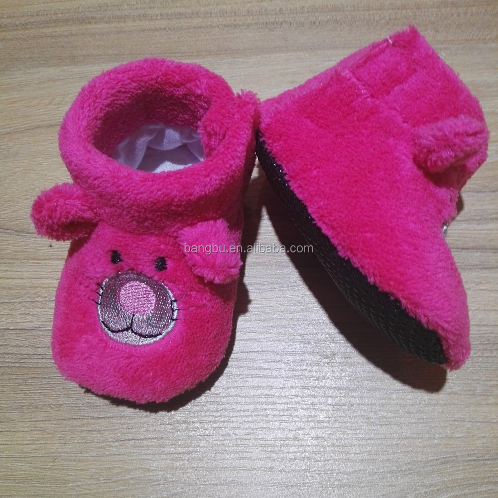 cute comfortable softy warm kids baby coalr fleece shoes with embroidery