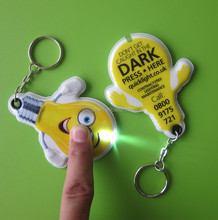 Lighting brand give away gifts bulb shape PVC led keychains