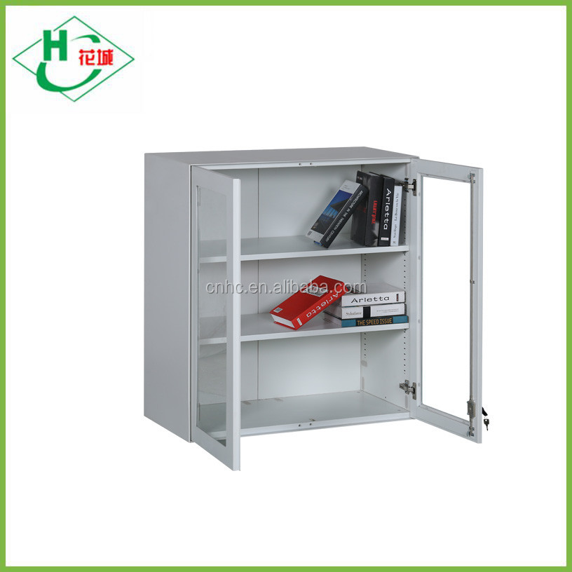 Luoyang latest multipurpose cabinet designs small steel cupboard with 2 glass doors