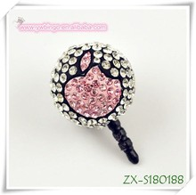 mobile phone plug crystal PINK apple shamballa dust plug, headphone jack dustproof plug cute dust plug ZX-S180188