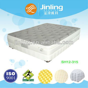 Deluxe pocket spring mattress with latex and convoluted foam in filling