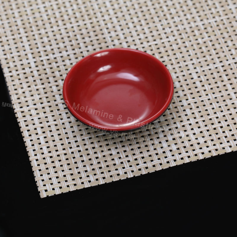 red and black plastic sauce dish for restaurant