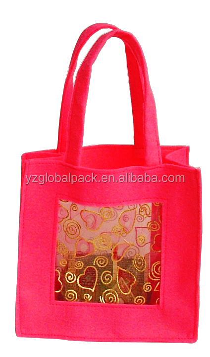 Global Decorative with Window Felt Custom-made Gift Bags