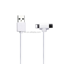2 in 1 USB A to Micro and 8pin USB Data cable TPE Jacket USB Charge cable WIK factory