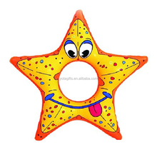 PVC inflatable starfish design swimming floating ring for kids