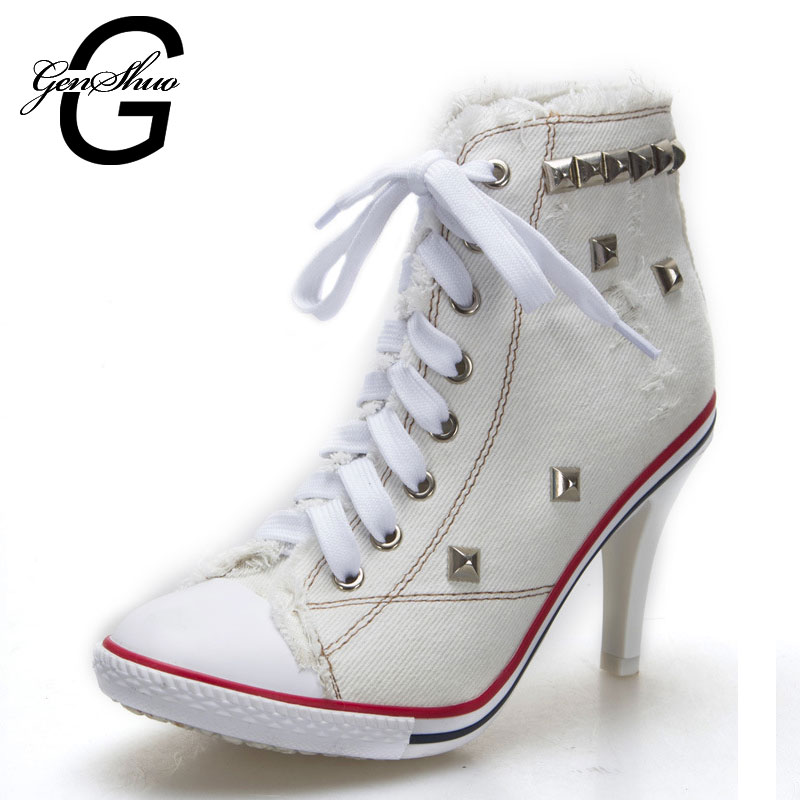 Cotton Fabric Canvas Ankle Boots Lace-up Pumps Rivets Sexy Jeans Shoes Women Denim Canvas High Heel Shoes