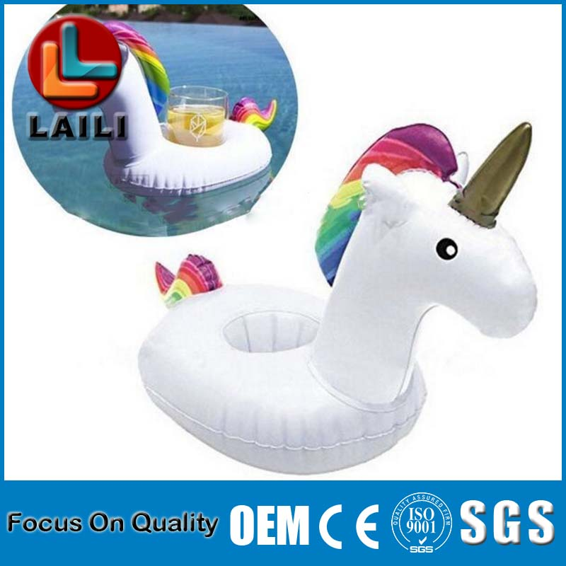Summer Beach Pool Floating Decoration Flamingo and unicorn swan Fruit Beverage Drink Inflatable Cup Holder