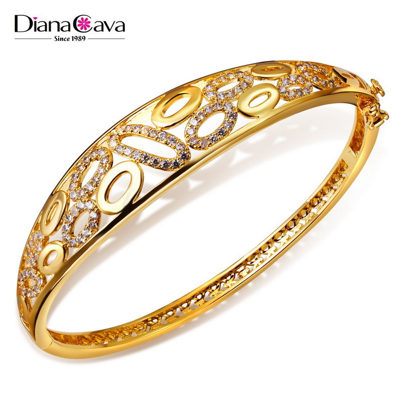 Latest Wedding Party Design Women Gold Jewelry Dropship Zircon CZ Hollow Bangle