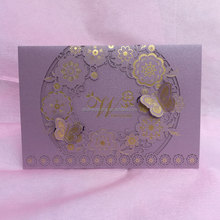 Romantic purple fancy paper unique wedding invitation cards