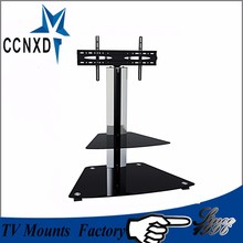 "Swiveling TV Wall Mount Stand Glass Shelves Fits 32"" - 60 "" Black Hide Wires"