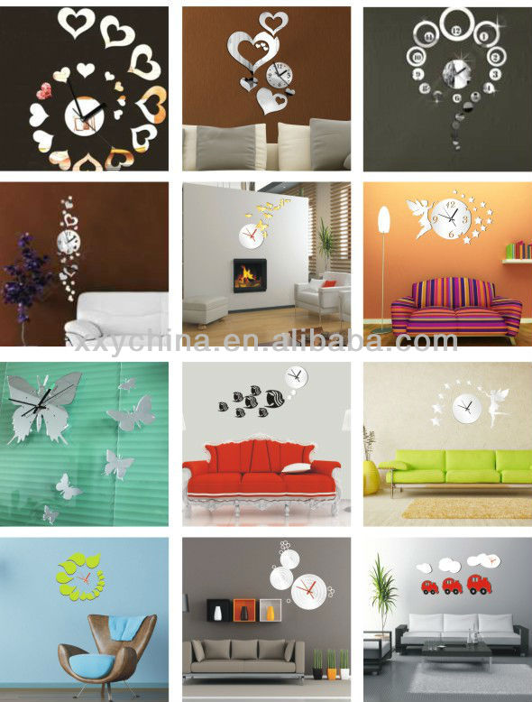 self-adhesive decorative wall sticker clock heart clock mirror
