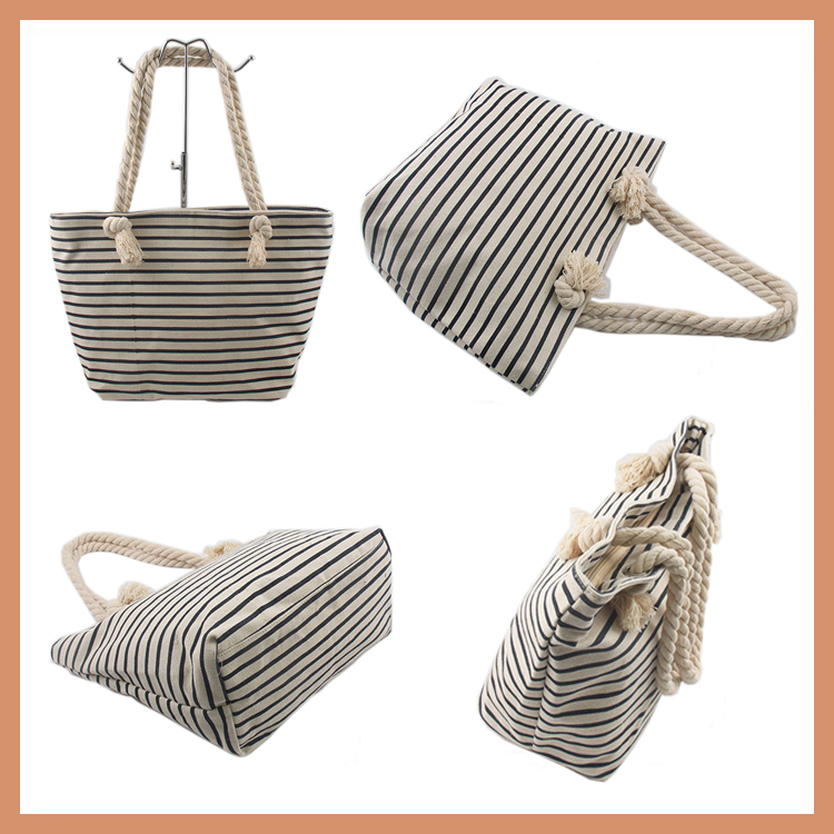 Stripe Canvas Cotton Shopping Bag With Rope Handle