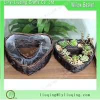 Decorative heart shaped wicker baskets for plants