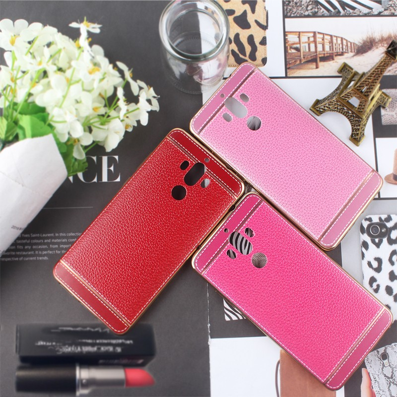 Luxury Crystal Rubber Litchi Leather Pattern Electroplating TPU Phone Case For Huawei Mate 9