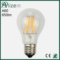 Glass body 360 degree 220V A60 E27 6w dimmable led filament bulb