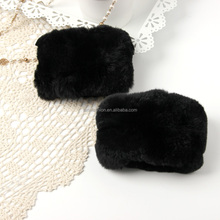 Wholesale New Design Real Colorful Rex Rabbit Scraps Fur Cuffs for Women Coat&Parka&Jacket Wrist Warm