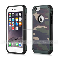 Hard shiny Camouflage frosted PC plastic back cover dual layer shockproof soft TPU gel bumper case for iPhone 6
