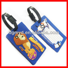 Soft pvc waterproof luggage tags for traveling