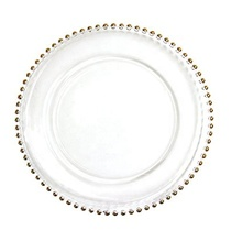 High Quality 13&quot; Gold Beaded Glass Cheap Clear Wedding Decoration Charger <strong>Plate</strong>
