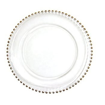 "High Quality 13"" Gold Beaded Glass Cheap Clear Wedding Decoration Charger Plate"