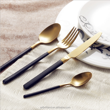 Brilliant BC2081 304 stainless steel gold plated black handle knife and fork set flatware with sand black handle