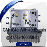 CATV RF bi-directional line amplifier 2-port output 860MHz 34/20dB gain GM-834 with AGC